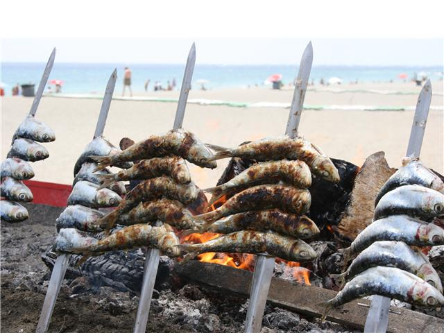 espeto de sardinas playa