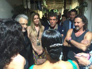 25.07.Placido Domingo,Nicole Kimpel, Antonio Banderas y Jose Maria Cano.Concierto Placido Domingo en Starlite.Backstage2